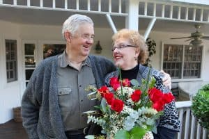 A senior couple enjoys Valentine's Day together