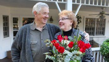 A senior couple enjoys Valentine's Day together