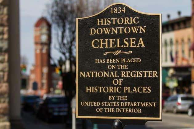 Chelsea Michigan National Register of Historic Places sign